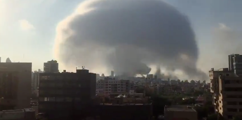 La grande esplosione a Beirut, in Libano